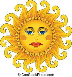 Gran sol de oro caliente.