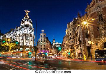 Gran vía in madrid, España, Europa.