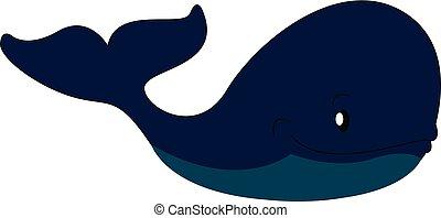 Gran vector de ilustración de ballenas azules en el fondo blanco