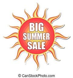 Gran venta de verano en la etiqueta del sol, vecto