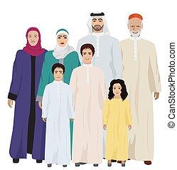 Gran y feliz ilustración de vectores de la familia árabe