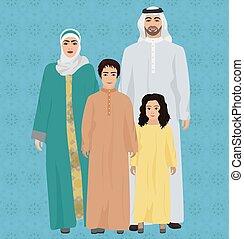 Gran y feliz ilustración de vectores de la familia árabe.