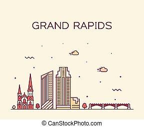 Grand Rapids skyline michigan USA vector linear