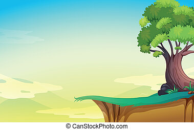 grande, árbol viejo, acantilado