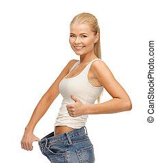 grande, actuación, mujer, deportivo, pantalones