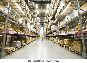 grande, almacén, muebles