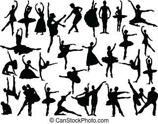 grande, ballet, vector, -, colección