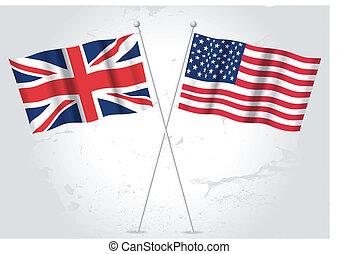 grande, bandera de los e.e.u.u, gran bretaña