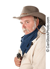 grande, blanco, pistola, plano de fondo, vaquero