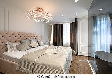 grande, cómodo, cama, dormitorio, clásico, doble, elegante
