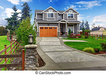 grande, casa, campo, exterior.