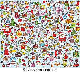 grande, colección, mano, pequeño, ilustraciones, dibujado, multa, navidad