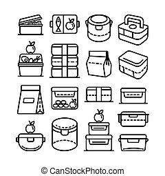 grande, conjunto, almuerzo, contorno, caja, icono