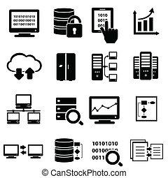 grande, conjunto, datos, icono