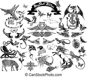 grande, conjunto, tatuaje