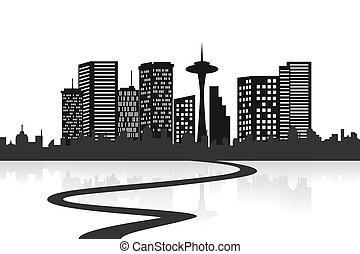 grande, contorno, ciudad