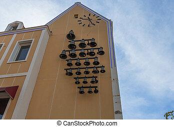 grande, curasao., hermoso, underneath., reloj, edificio, pared, amarillo, willemstad, conjunto, vista, campanas