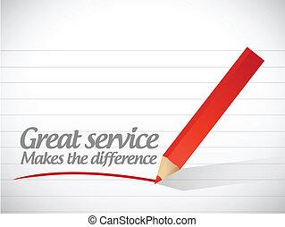 grande, diferencia, marcas, mensaje, servicio
