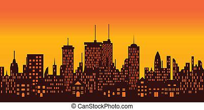 grande, encima, ocaso, ciudad