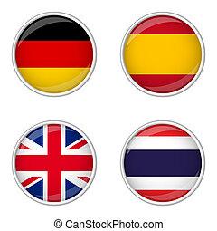 grande, españa, botón, -, colección, tailandia, gran bretaña, alemania