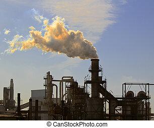 grande, fábrica, aire, uno, chimenea, contaminación