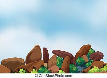 grande, formación, roca