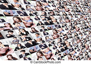 grande, hecho, grupo, empresarios, collage