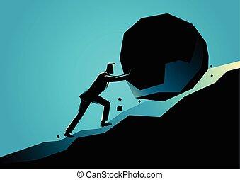 grande, hombre de negocios, piedra, empujar, cuesta arriba