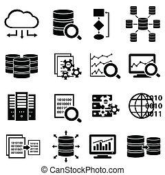 grande, iconos, tecnología, datos