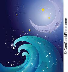 grande, imagen, luna, onda
