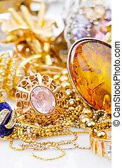 grande, joyería, oro, colección