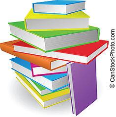 grande, libros, pila, ilustración