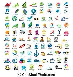 grande, logotipos, conjunto, finanzas, vector