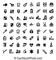 grande, médico, conjunto, iconos