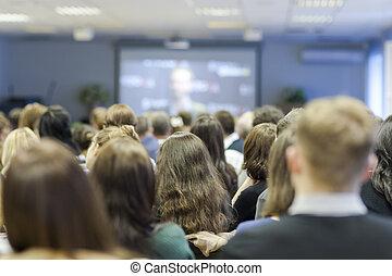 grande, mirar, oyentes, grupo, pantalla, front., conferencia, durante