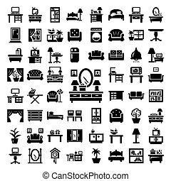 grande, muebles, conjunto, iconos