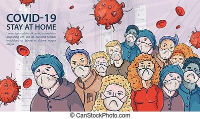 grande, muy, contorno, ilustración, máscaras, coronavirus, advertencia, covind, inscripción, multitud, moléculas, 2019-ncov, gente, virus, rojo, médico
