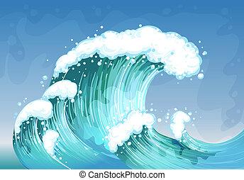 grande, muy, onda