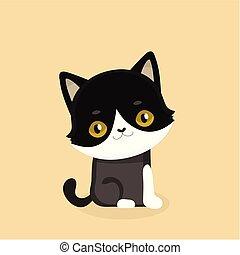 grande, negro, eyes., gato, illustration., lindo, caricatura, vector
