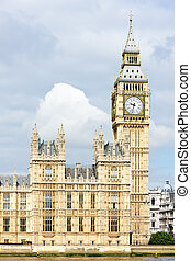 grande, parlamento, big ben, casas, gran bretaña, londres