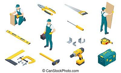 grande, set., o, mecánico, reparador, grapadora, medida, sierra para metales, cinta, martillo, pinzas, rodillo, toolbox., taladro, conjunto, alicates, icono, llave inglesa, tools., construcción