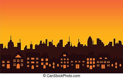 grande, silueta del horizonte, ciudad