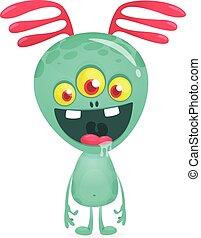 grande, vector, antena, eyes., extranjero, tres, caricatura, ilustración
