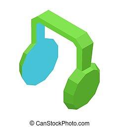 Grandes auriculares verdes para la música ilustración aislada
