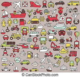 Grandes iconos de transporte de colores