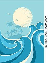 Grandes olas oceánicas y sol. Fondo de fondo de cartel de la naturaleza