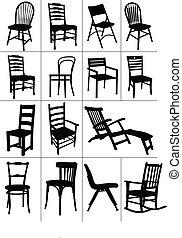 Grandes siluetas de sillas.