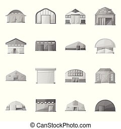 granero, colección, icon., arquitectura, icono, stock., granja, objeto, aislado, vector