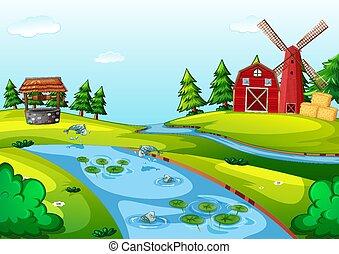 granero, escena, granja, molino de viento, rojo