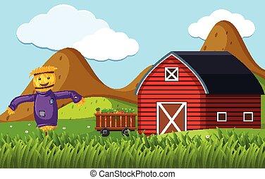 granero, espantapájaros, rojo, escena, granja